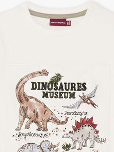 Kurzarm-T-Shirt für Jungen in Ecru mit Dinosaurier-Print BAMOAGEEX / 21H3PG21TMC001