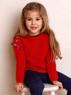 Roter Pullover Kind Mädchen ZOPULETTE / 21E2PFB1PUL050