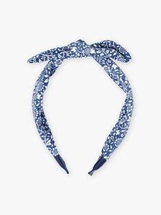 Petrolblaues Stirnband für Mädchen mit Knoteneffekt und Blumendruck BUSERTETTE / 21H4PFT1TET715