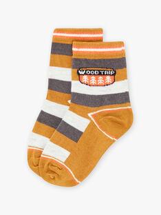 Gestreifte Socken für Kind Junge mit Waldmuster BIVERAGE / 21H4PGJ1SOQ804