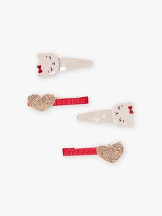 Set mit 4 passenden Katzen- und Herzspangen für Mädchen BALINETTE / 21H4PFS5BRT001