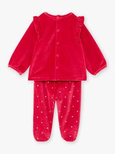Baby-Mädchen-Pyjama-Set mit langen Ärmeln in Himbeerrosa mit Tiermotiven BEBAMBI / 21H5BF61PYJ308