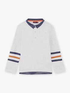 Graues Langarm-Poloshirt für Jungen mit Bärenmotiv BICLOAGE / 21H3PGJ1POLJ902
