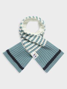 Baby-Schal für Jungen, blau und ecrufarben gestreift TACAIN / 20E4BGC1ECH001