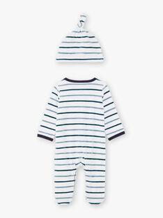 Baby Junge blau und weiß gestreiften Strampler mit Dinosaurier-Design und Kappe BEAYME / 21H5BG67GREG610