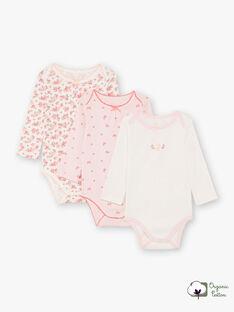 Baby-Mädchen 3 weiße und rosa bodysuits BEFILLE / 21H5BF81BDL001