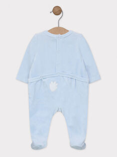 Schlafanzug himmelblau mit besticktem Löwenkopf aus Samt Baby Junge SYAWEN / 19H0NG11GRE218