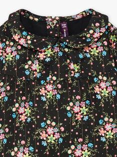 Schwarzer Langarm-Body mit Blumendruck für Mädchen BAMELODIE / 21H1BFM2BOD090