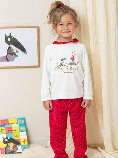 Pyjama-Set für Mädchen mit Wolfsmotiv in Ecru und rotem Samt BELOUPETTE / 21H5PFN1PYJ001