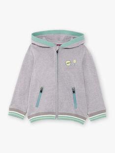 Grauer und grüner Hoodie für Jungen ZECOULAGE / 21E3PGO1GILJ904