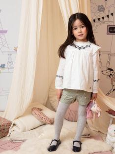 Langarm-Shirt für Mädchen in Ecru mit floraler Stickerei BECHEMETTE / 21H2PF21CHE001