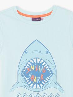 Blaues T-Shirt mit Hai-Muster ZUZAGE1 / 21E3PGL3TMC614