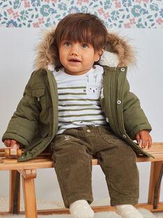 Parka für Baby- Jungen mit khakifarbener Kapuze und integrierten Fäustlingen BIRAPHAEL / 21H1BGE1PAR628