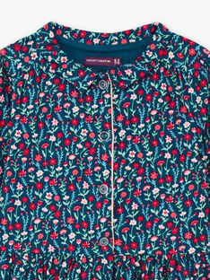 Langärmeliges Kleid für Baby-Mädchen in Entenblau mit Blumendruck BOSOFETTE / 21H2PF91ROB714