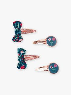 Set mit 4 passenden Schleifen und Blumen Haarspangen für Mädchen BEFLERETTE / 21H4PFS8BRT952
