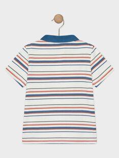 Ecru-blau gestreiftes Polohemd für Jungen TOMITAGE / 20E3PGQ1POL001