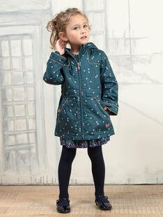 Kind Mädchen entenblauer Regenmantel mit Lotosmuster BLOTETTE / 21H2PFC1IMP714