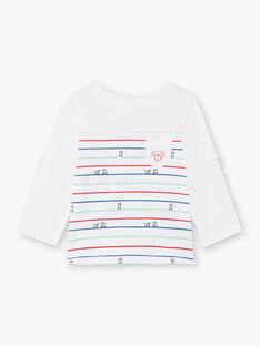 Baby Boy's weiß und blau gestreiftes T-Shirt BABILLY / 21H1BG11TML001