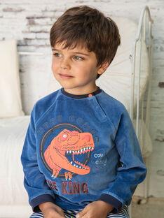 Marineblaues und weißes Pyjama-T-Shirt und Hose für Jungen BEDINAGE / 21H5PG65PYJ208