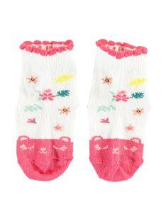 Baby-Socken aus Bouclé für Mädchen, ecrufarben TABLANCHE / 20E4BFB1SOQ001