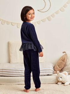 Pyjama-Set für Mädchen aus blauem Samt mit Fantasiemotiv BEBYGNETTE / 21H5PF73PYJ705