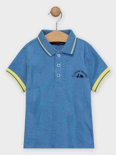 Poloshirt für Jungen mit Blätter-Jacquard, blau TIBLOAGE / 20E3PGO1POLC208