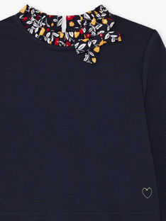 Marineblaues langärmeliges Kleid für Mädchen mit Blumendruck BIGLETTE / 21H2PF51ROB070