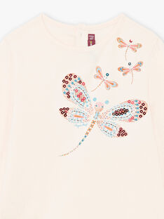 Mädchen-T-Shirt in Hellrosa mit Libellen und Pailletten BRIKETTE / 21H2PFM1TML321