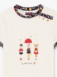 Mädchen-Kurzarm-T-Shirt ecru mit Fantasy-Print BICHETTEEX / 21H2PF51TMC001