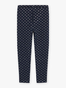 Marineblaue Polka-Dot-Fleece-Leggings für Mädchen BROLIETTE 4 / 21H4PFF4CTT070