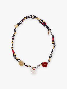 Blumendruck-Halskette für Mädchen mit Katzen-Anhänger BUCOLETTE / 21H4PFS1CLI070