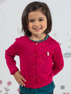 Kind Mädchen rosa Langarm-Strickjacke BOLILETTE / 21H2PF91CAR310