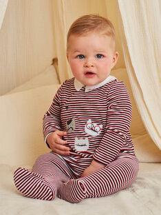 Rot gestreifter Velours-Strampler für Baby-Jungen mit Kätzchen-Print BECOLIN / 21H5BG73GRE502
