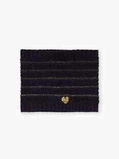 Marineblauer Strickschlüpfer für Mädchen mit goldenen Details BLOPUETTE / 21H4PFC1SNO070