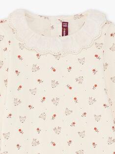 Baby Girl's rot und Ecru Blume und Doe Druck Bodysuit BAIGI / 21H1BFJ1BOD001