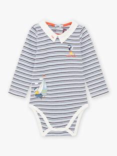 Gestreifter Baby-Jungen-Body mit Segelboot- und Vogelmotiven BANASH / 21H1BGL1BODC230