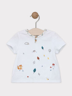 Kurzärmeliges T-Shirt Baby Junge naturweiß mit Animation auf der Brust SABARNABE / 19H1BG21TMC001