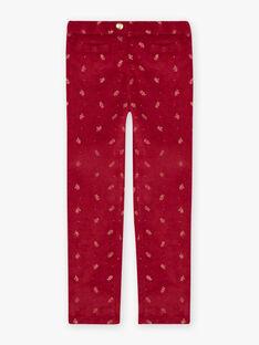 Burgunderfarbene Hose für Mädchen mit goldenem Blumenmuster BROVELETTE2 / 21H2PFF1PAN503