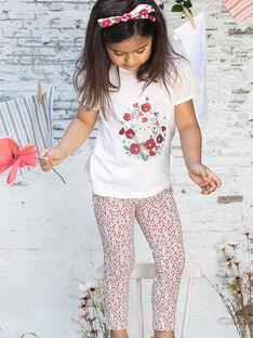 Kurzarm-T-Shirt für Mädchen mit Katzen- und Blumenmotiven BATELETTE / 21H2PF11TMC001