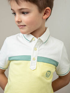 Poloshirt ecru, gelb und grün Kind Junge ZECHAGE