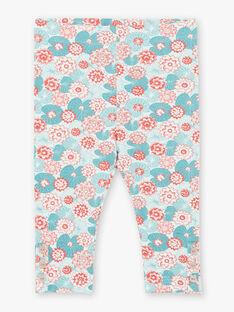 Grüne und korallfarbene Jersey-Boxershorts mit Lotusblumen-Print ZACLAIRE / 21E4BFI2CAL629
