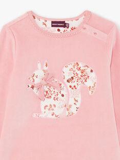 Baby-Mädchen-Pyjama mit langen Ärmeln und Blumendruck in Rosa BEBETTE / 21H5PF62PYJ312