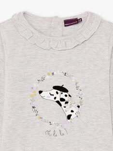 Graues Langarm-T-Shirt für Mädchen mit Dalmatiner und Blumen BEBLIETTE / 21H2PF21TML943
