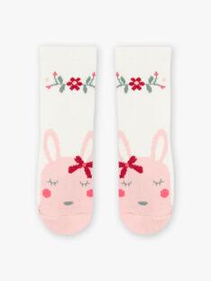 Baby Mädchen ecru Blume und Kaninchen Socken BAGIGI / 21H4BF91SOQ001