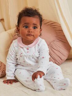 Baby-Mädchen-Strampler in Ecru mit Claudine-Kragen und ausgefallenem Druck BEJASMINE / 21H5BF72GRE001