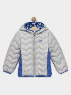 Langärmelige Daunenjacke für Jungen in einem kleinen Beutel, grau und blau TUAGE / 20E3PGT3DTV904