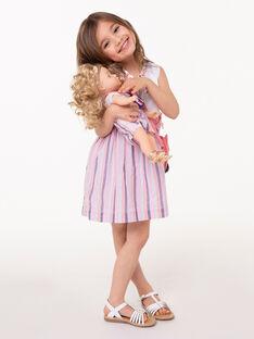 Gestreiftes Kleid aus 2 Materialien für Mädchen TAYALETTE / 20E2PFP1CHS001