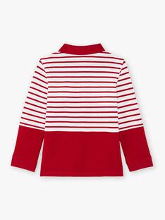 Rot-weiß gestreiftes langärmeliges Poloshirt für Jungen BACLOAGE / 21H3PG11POL001