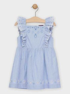 Blau-weiß gestreiftes Kleid Mädchen TOIDOETTE / 20E2PFO1ROBC204