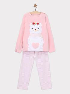 Rosa Velours-Schlafanzug für kleine  Mädchen SYMANETTE / 19H5PFK6PYJ307